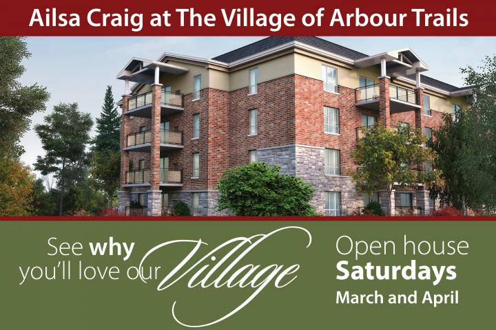 Beautiful Rental Retirement Suites at The Village of Arbour Trails in Guelph. Visit our Open House Saturdays from 2-4 pm