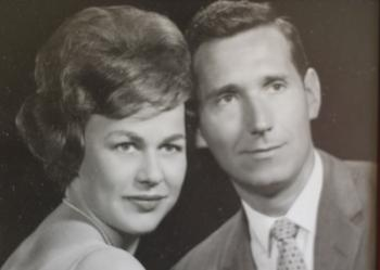 A black and white photo Ilse and her husband Peter in their newlywed years