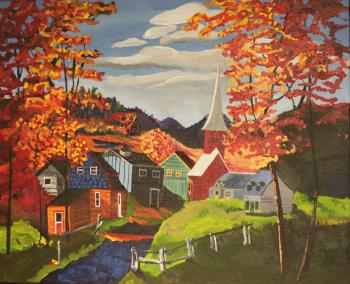 Painting of a fall scene in an small town