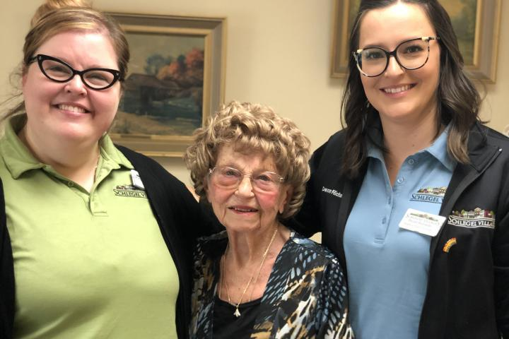 Becki and Devon are just two of many team members going above and beyond with residents like Donna atRiverside Glen to connect them with loved ones .