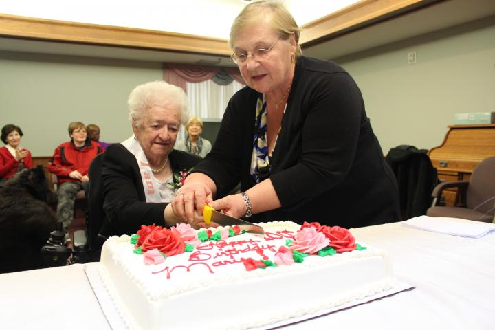Before COVID-19, Donna and family would visit Marie at least  weekly. This picutre was during Marie's 100th birthday celebrations three years ago. Though things have changed so much, Donna  shares how they are still making the most of every moment.
