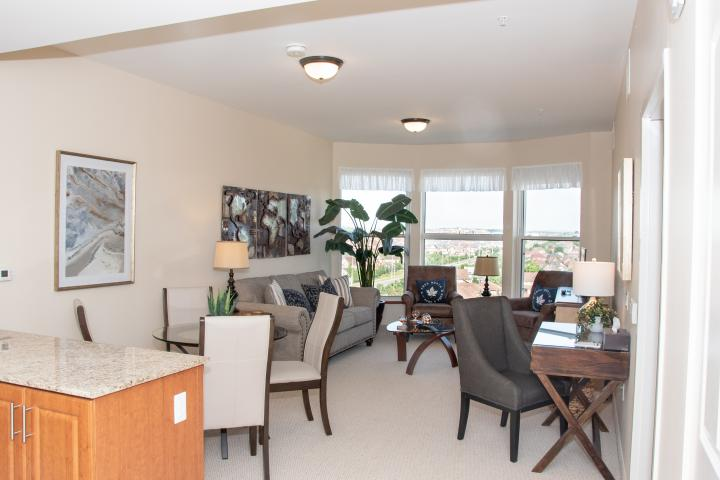 Dining and living room retirement suite