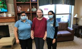 Sachpreet Kaur, Swastika Karki and Sunita Thapa all felt they could add a little comfort to those residents they knew would appreciate a trim