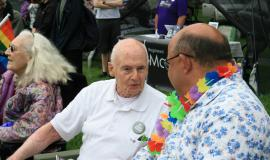 George shares #ElderWisdom with Mayor Berry Vrbanovic at Tri-Pride