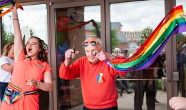 Team members and residents were thrilled to show their pride in inclusion at Winston Park.