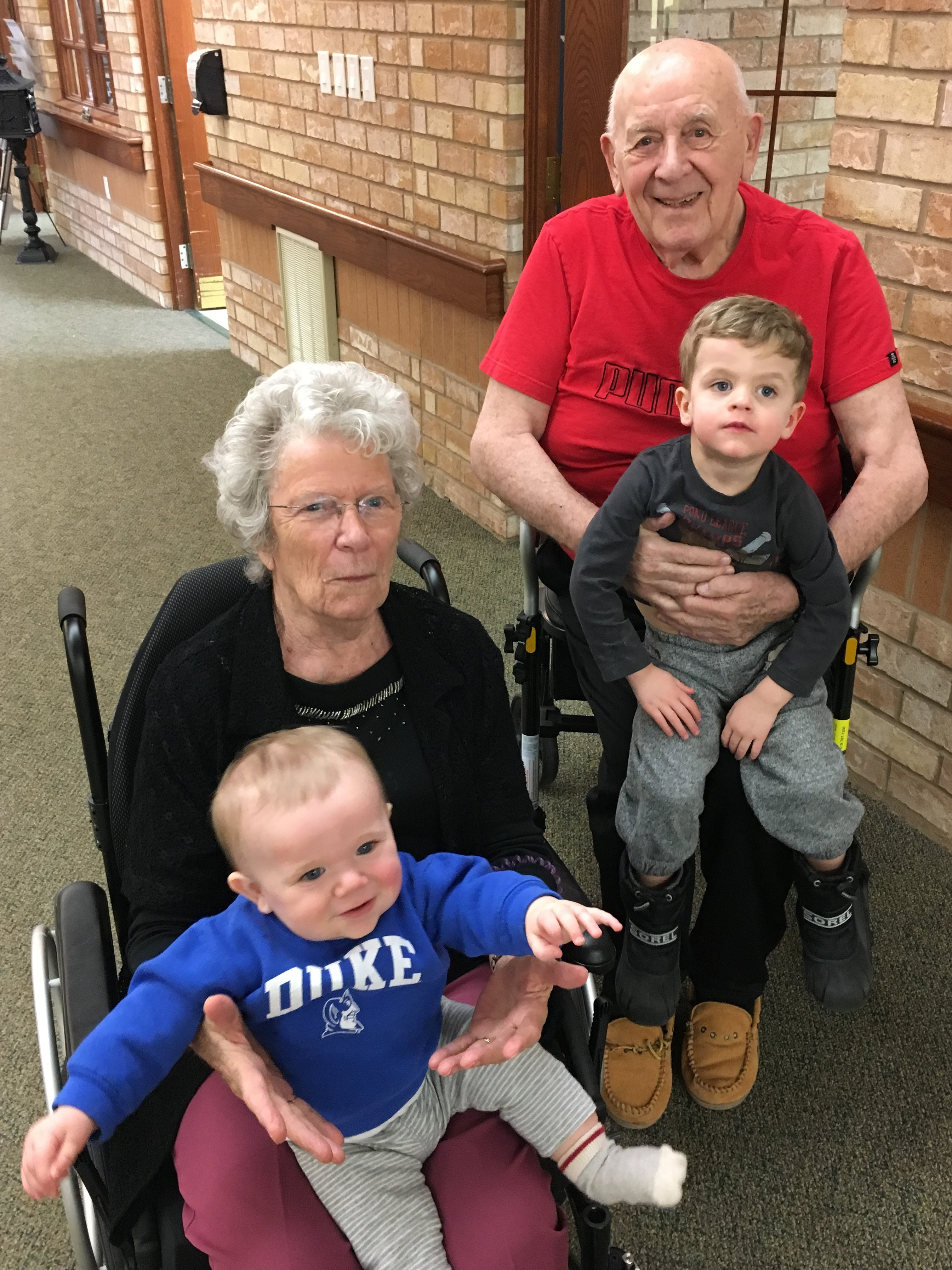 "Our great grandparents are the best! We look forward to visiting ""Nanny and Poppa"" because they play games with us, eat candy with us, take us on a stroll, play basketball with us, and give us endless hugs and kisses."