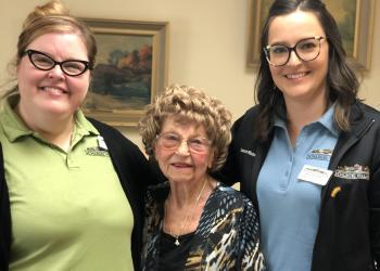 Becki and Devon are just two of many team members going  above and beyond with residents like Donna at Riverside Glen to connect them with loved ones .