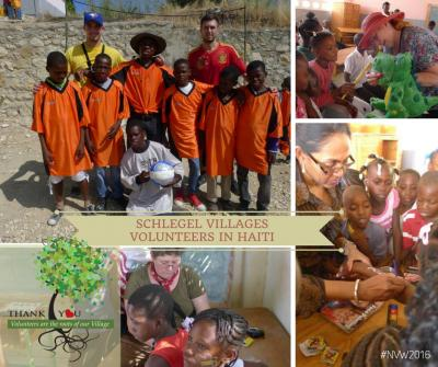 Collage of photos showing team members with children in Haiti working on crafts, playing soccer, and posing for a group shot outside