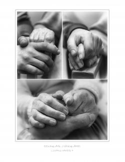 Black and white photos of hands clasping each other