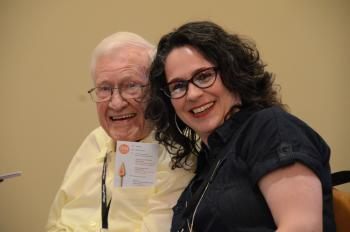 Humber Heights Resident Ron Smith posing for a photo with RIA Schlegel Research Chair Heather Keller