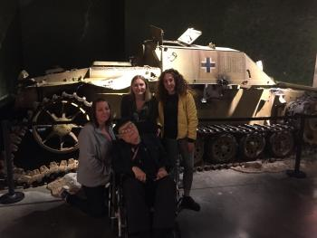 Crystal, Angela and Courtney together with Bob at the Canadian War Museum in Ottawa.