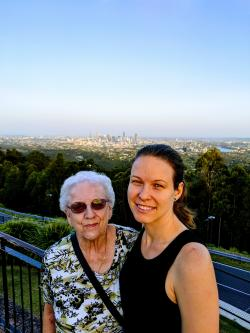 Linda and her granddaughter Heather during a trip to Australia.