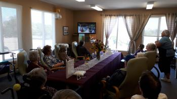 Residents and team members could watch the wedding through live-streaming technology.