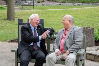 The Right Honourable David Johnston, former Governor General of Canada, and Ron Schlegel have been close for many years. They share stories and laughter upon the #ElderWisdom bench on a late spring afternoon in Guelph